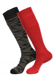 Mens Pro Tech Camo 2pk Socks Red