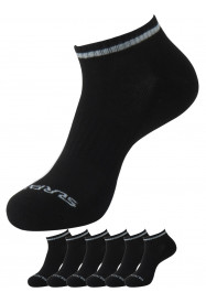 Mens Technical No Show 6 Pk Sock Black