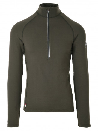 Mens  CarbonDri Bodyfit Zip Neck Green