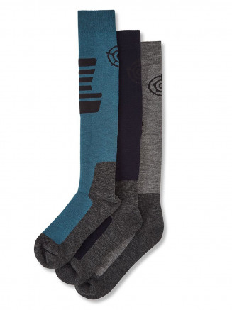 Mens Oberau 3 Pack Merino Ski Socks Blue