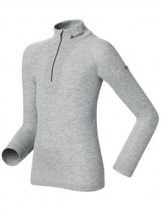 Kids Base Layer Warm Long Sleeve Turtle Neck 1/2 Zip Grey